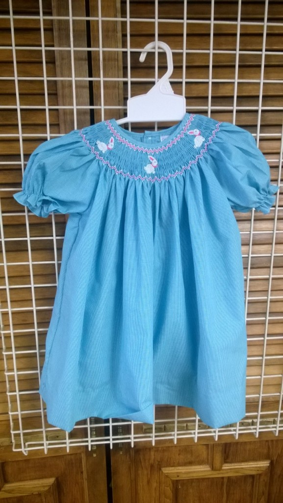 petit pomme bunny blue dress