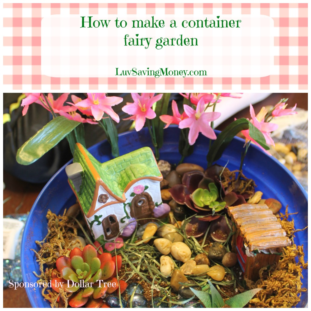 How to make a lighted container fairy garden luv saving money - How to make a fairy garden container ...