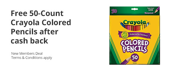 FREE 50 Count Box of Crayola Colored Pencils After Cashback