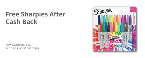 FREE Pack of Sharpies After Cash Back (Limited time)