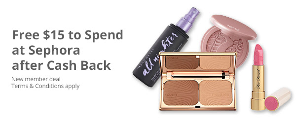 Free $15 to spend at Sephora (after Cash Back)