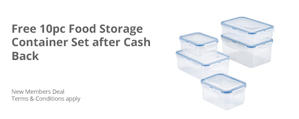 Free 10 pc Food Storage Container Set after Cash Back