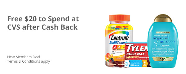 $20 Cash Back At CVS When You Spend $20 or More!